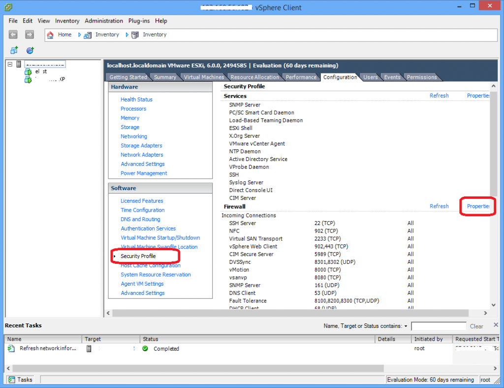 ESXi host firewall configuration
