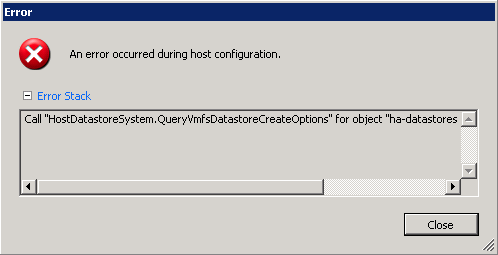 ESXi adding datastore errors