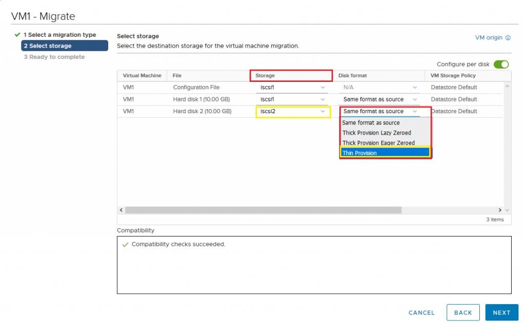 VMware VM Migration Thin provision